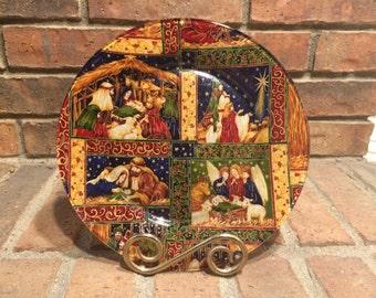 Decorative Nativity Plate Brown