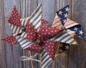 Trio of Primitive Handmade Americana Pinwheels - Patriotic/Fourth of July