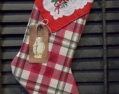 Sweet Primitive Handmade Stocking with Tag - Winter and/or Holiday Decoration