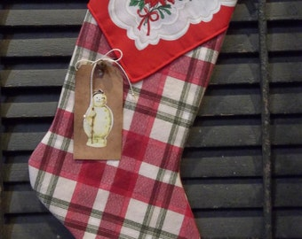 CHRISTMAS IN JULY - Sweet Primitive Handmade Stocking with Tag - Winter and/or Holiday Decoration