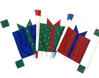 Quilted Christmas Table Runner  Gifts Packages CIJ  Holiday Decor  Handmade Homemade  Red and Green  Sally Manke Fiber art