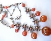 Art Deco Silver Tone Necklace Carnelian Beads 1920's 1930's