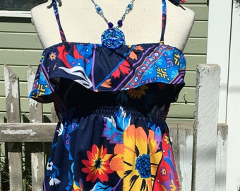 "SALE! Upcycled smocked top ""Beachside"" Reconstructed handmade flowy shirt, gypsy, hippie, boho, sleeveless, one-of-a-kind"