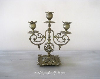Antique French Decorative Brass Candlestick 3 Branch Highly Ornate