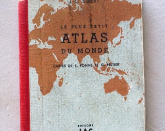 Vintage French Miniature World Atlas Le Plus Petit Atlas du Monde J.L. Sibert 1940