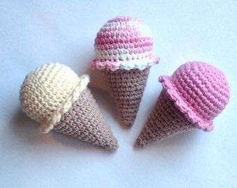 Amigurumi Crochet Ice Cream Cone Play Food