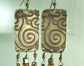 Brass and Irridescent Glass Bead Earrings
