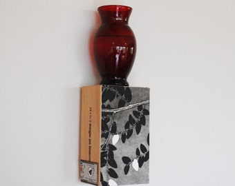 wall art shelf, botanical art, sconce, cigar box