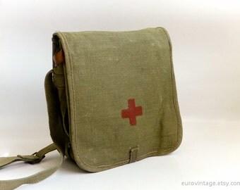 Vintage Red Cross Bag Medical Bag Military Messenger 70s 80s