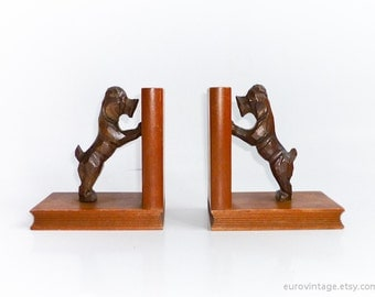 Vintage Wooden Dogs Bookends Poodle Terrier Bookends 50s 60s