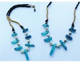 SALE Boho Crystal Shard White Turquoise Beaded Bib Statement Necklace