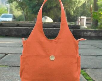 Orange canvas diaper bag, womens hand bag, canvas messenger bag, tote bag for women