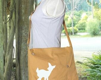 Holiday On Sale 10% off yellow cotton canvas messenger bag / shoulder bag / deer messenger /diaper bag / fawn sewn