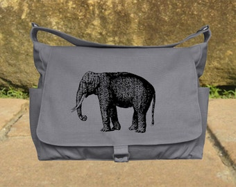Gray canvas travel bag, luggage bag, printed school bag, cool shoulder bag, flap printed