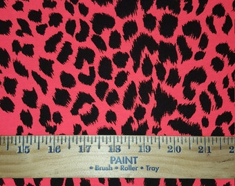 Neon Red Cheetah Cotton Lycra Knit FAbric