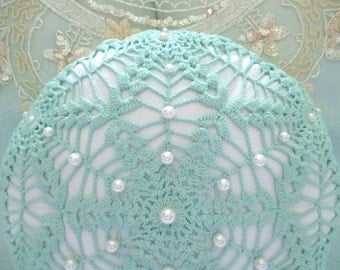 Sea Urchin Pillow, Vintage Turquoise Crochet/Linen, Hand Beaded, Pearls
