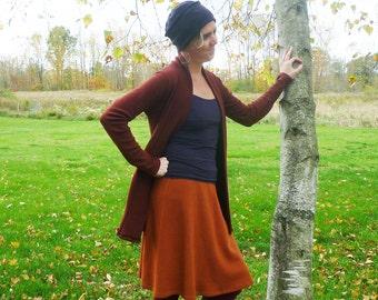 Organic Clothing Wool Knee Length Aline Skirt Organic Merino Wool Burnt Sienna Pumpkin Orange Sweater Skirt Hippie Boho Gypsy Mountain Mama
