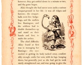 Through The Looking Glass Antique Book Page  - Alice and Flamingo -  Vintage Alice in Wonderland decor, nursery art, 8 x 10 artwork print