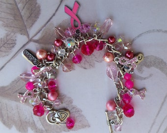 Pink Breast Cancer Awareness Crystal Charm Bracelet, SIlver, Pink Ribbon Charms, Pink crystals, Pink Beads