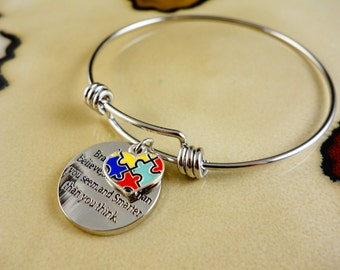 You are strong, autism charm on popular bangle bracelet stainless steel
