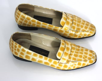 Vintage Loafers Yellow Italian Flat Shoes Ladies 7.5 8