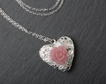 Heart locket necklace, silver locket necklace, silver heart necklace, perfume locket, photo locket, bridesmaid gift, flower girl necklace