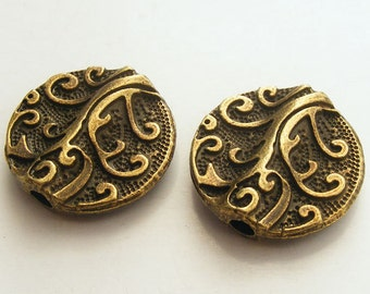 Antique Brass Tree Coin Beads (2pcs) 20mm Z-N1292-AB