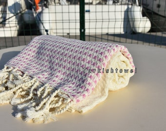 Turkishtowel-2016 Collection-HASIR-Hand woven,very soft,cotton and bambo,Bath,Beach,Travel,Wedding Towel-Pale Pink stripes on Natural Cream