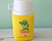 Vintage RETRO THERMOS...kermit the frog. decor. retro. kitschy. campy. serving. eating. lunch. dinner. vintage housewares. kitchen. muppet