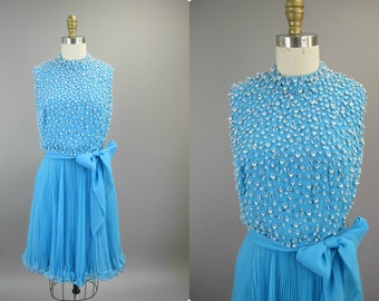 1960s Blue Beaded Dress