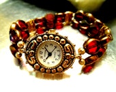 Watch Red Glass And Gold Beaded With Stretch Band