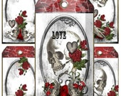 valentine Card Gothic Roses and Skulls instant download tags perfect for a loved one