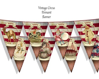 steampunk Vintage Circus big top pennant Banners, Bunting party favor, decor, craft project collage sheets