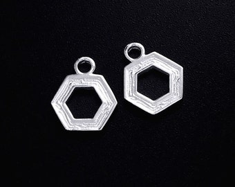 2 of 925 Sterling Silver Textured Hexagon Charms 10mm.  :tm0130