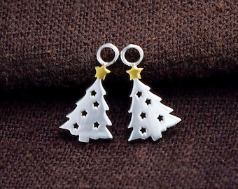 2 of 925 Sterling Silver Christmas Tree Charms 8x11mm. , tiny charms  :tm0136