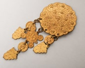 Vintage huge brass ethnic style brooch with long charms