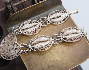 Vintage metal filigree part of jewelry, bracelet, finding, connectors
