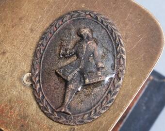 Antique plate, cabochon, part, Man