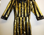 XS/S Black & Gold Striped dress w/ Black collar Artifice Clothing (exchange sample)