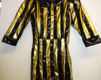 CLEARANCE- XS/S Black & Gold Striped dress w/ Black collar Artifice Clothing (exchange sample)