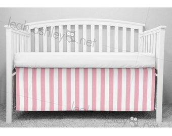 Crib Skirt, Bumperless Crib Bedding - Pink Stripe - CS1a