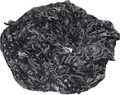100g Recycled Sari Chiffon Silk Ribbon Yarn, multi, 85 yards,   3.5 oz / 100 grams Black with white