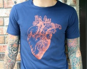 Steam Powered Anatomical Heart Mens Screen Printed Organic Cotton Navy Blue Tee Shirt