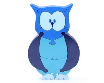 Owl Decor and Puzzle in Blue