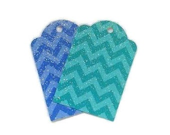 Chevron Gift Tags / Chevron Strip / Chevron / Beautiful Blue