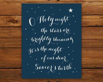Christmas Printable Wall Art O Holy Night Print - Holiday Decor