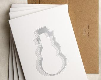 Four (4) Snowman Cookie Cutter Letterpress Cards
