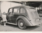 1940's Pretty young girl by antique car vintage photo