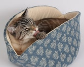 Jumbo Cat Canoe Modern Kitty Bed For Large Cats In Ivory and Blue