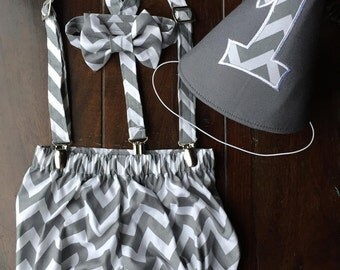 Boys Cake Smash Outfit, Boys Chevron Smash Cake Set, Birthday Outfit Bow tie, Suspenders, Diaper Cover, Birthday hat made by Two L Creations